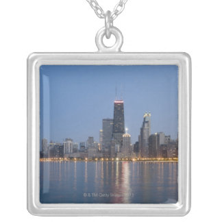 Downtown Chicago Skyline Silver Plated Necklace
