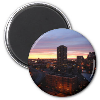 Downtown Chicago Sunset 2 Inch Round Magnet