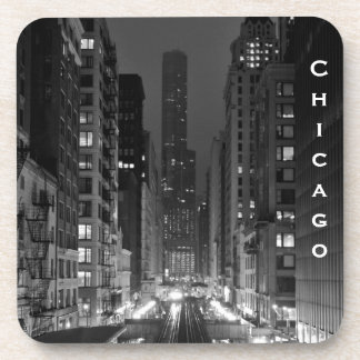 Downtown Chicago Vertical City Name Beverage Coaster
