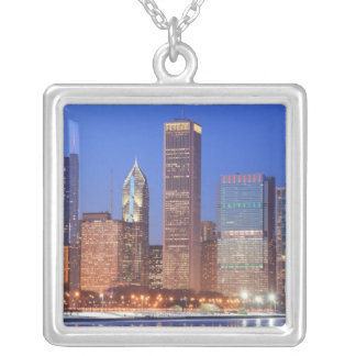 Downtown Chicago with skyscrapers including Silver Plated Necklace