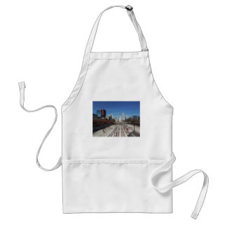 Downtown Chicago with train tracks Adult Apron