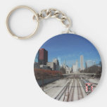 Downtown Chicago with train tracks Basic Round Button Keychain