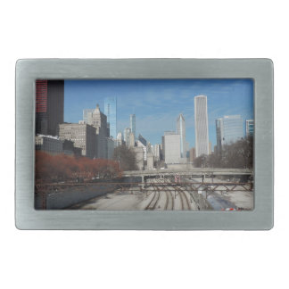 Downtown Chicago with train tracks Rectangular Belt Buckle