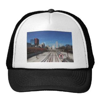 Downtown Chicago with train tracks Hats