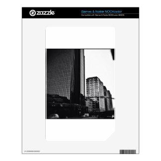 Downtown City Buildings, Black & White NOOK Color Skins