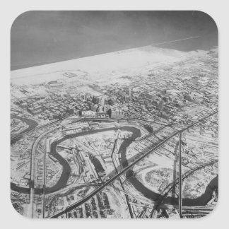 Downtown Cleveland in 1937 Square Sticker