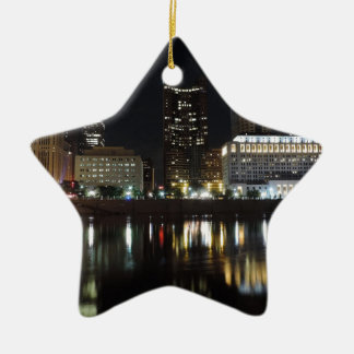 Downtown Columbus skyline at night Ceramic Ornament