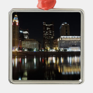 Downtown Columbus skyline at night Metal Ornament