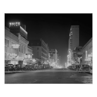 Downtown Dallas At Night, 1942. Vintage Photo Poster