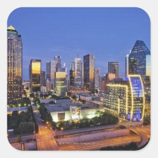 downtown dallas skyline square sticker