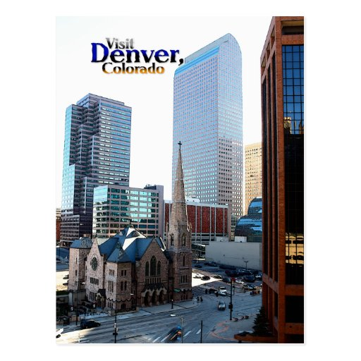 Downtown Denver: Downtown Denver And The Trinity Episcopal Church Postcard