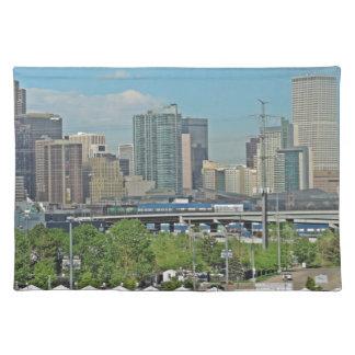 Downtown Denver Colorado City Skyline Cloth Placemat