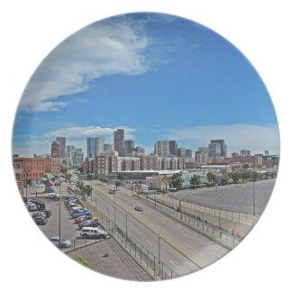Downtown Denver Colorado City Skyline Dinner Plate