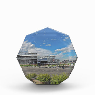 Downtown Denver Colorado City Skyline with Sports Award