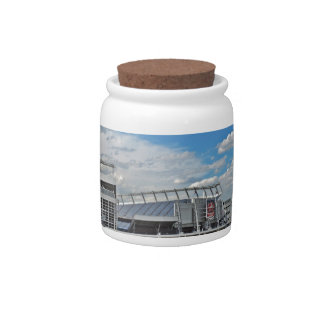 Downtown Denver Colorado City Skyline with Sports Candy Jars