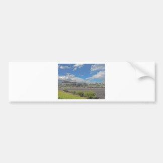 Downtown Denver Colorado City Skyline with Sports Car Bumper Sticker