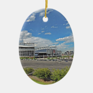 Downtown Denver Colorado City Skyline with Sports Ceramic Ornament