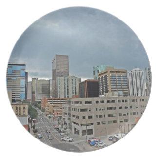 Downtown Denver Colorado Skyline Melamine Plate