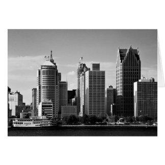 Downtown Detroit B/W Card