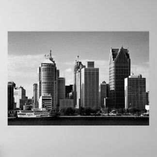 Downtown Detroit B/W Poster