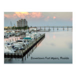 postcard, fort, myers, downtown, sunrise, boats,