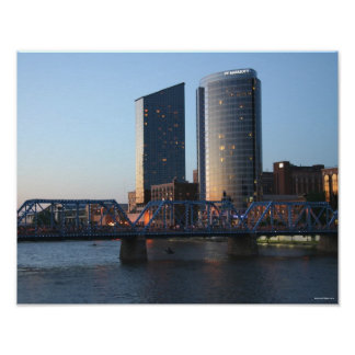 Downtown Grand Rapids at Dusk Poster