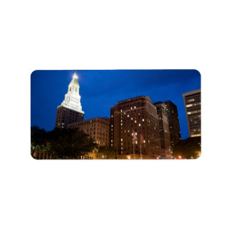 Downtown Hartford Connecticut at Night Address Label