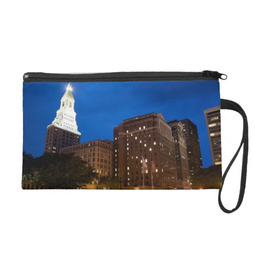 Downtown Hartford Connecticut at Night Wristlet Clutch