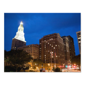 Downtown Hartford Connecticut at Night Card