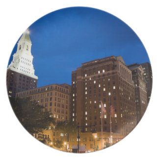 Downtown Hartford Connecticut at Night Dinner Plate