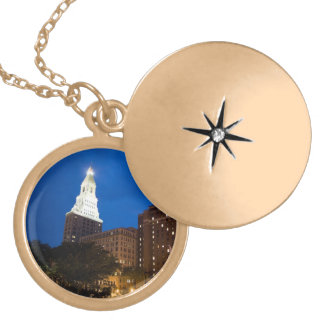 Downtown Hartford Connecticut at Night Locket Necklace