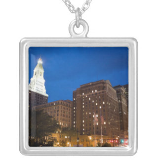 Downtown Hartford Connecticut at Night Square Pendant Necklace