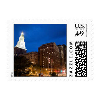 Downtown Hartford Connecticut at Night Postage
