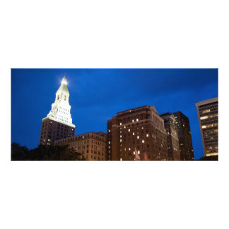 Downtown Hartford Connecticut at Night Rack Card Template