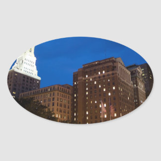 Downtown Hartford Connecticut at Night Stickers