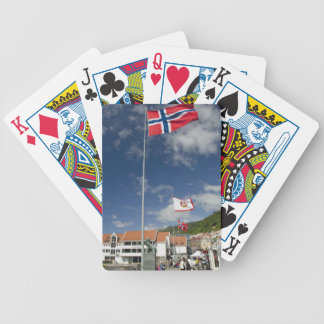 Downtown historic port area of Bergen wth flags Bicycle Playing Cards
