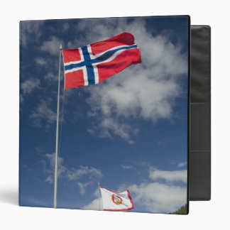 Downtown historic port area of Bergen wth flags Binder