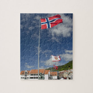 Downtown historic port area of Bergen wth flags Jigsaw Puzzle