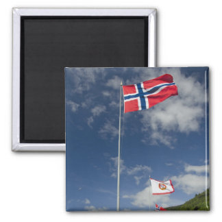 Downtown historic port area of Bergen wth flags Refrigerator Magnets