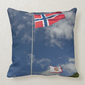 Downtown historic port area of Bergen wth flags Pillow