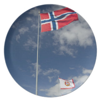 Downtown historic port area of Bergen wth flags Dinner Plates
