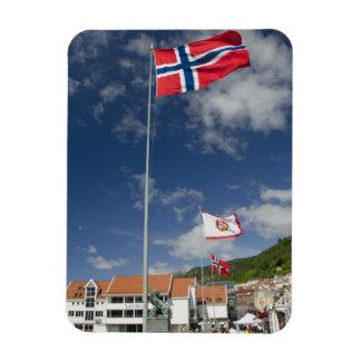 Downtown historic port area of Bergen wth flags Flexible Magnet