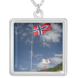 Downtown historic port area of Bergen wth flags Silver Plated Necklace