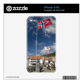 Downtown historic port area of Bergen wth flags Skin For The iPhone 4