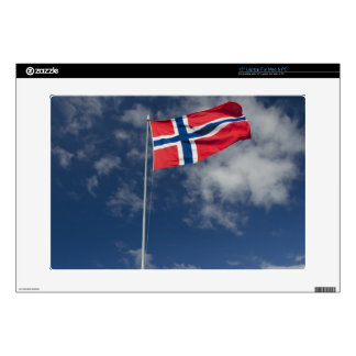 """Downtown historic port area of Bergen wth flags 15"""" Laptop Decal"""