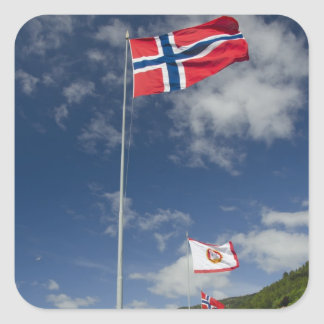 Downtown historic port area of Bergen wth flags Square Sticker