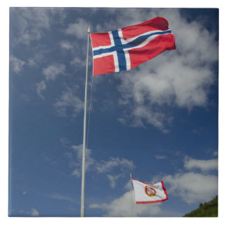 Downtown historic port area of Bergen wth flags Tile
