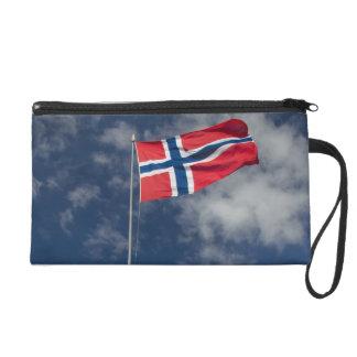 Downtown historic port area of Bergen wth flags Wristlet