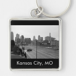 Downtown Kansas City, Kansas City, MO Silver-Colored Square Keychain