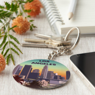Downtown L.A. Basic Round Button Keychain